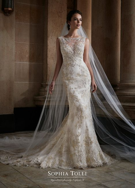 Y21736 dress (Trumpet, Illusion, Straps,  Sleeveless ) from  Sophia Tolli 2017, as seen on dressfinder.ca. Click for Similar & for Store Locator.