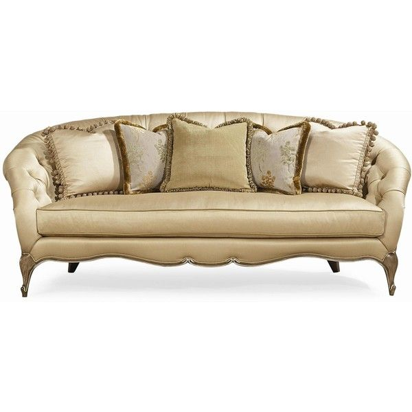 Tatiana traditional sofa with tufted back and carved wood for Traditional tufted leather sofa