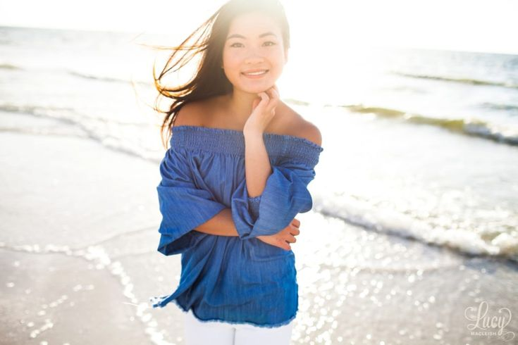 Lucy MacLeish Photography Orlando Florida Photographer, senior portraits at the beach, senior pictures at the beach at sunset, senior pictures in Clearwater beach, off the shoulder top for senior pictures