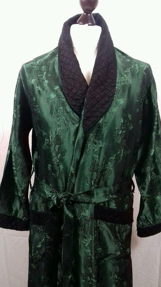 Vintage Mens 70s S M 38 Green Brocade Smoking Jacket Dressing Gown