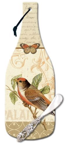 Songbirds-Wine-Bottle-Shaped-12-1-2-Inch-Glass-Cheese-Cutting-Board-w-Spreader