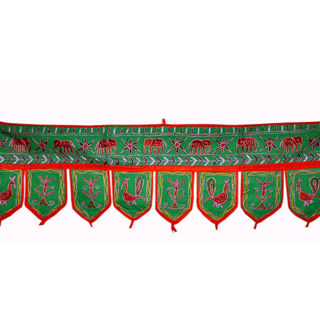 Door hanging is an ideal for different modern and traditional d�cor. It contains Peacock & Elephant Embroidery Work all over. Just Pretty up to your room & office with this beautiful door hanging Price $USD   6.11