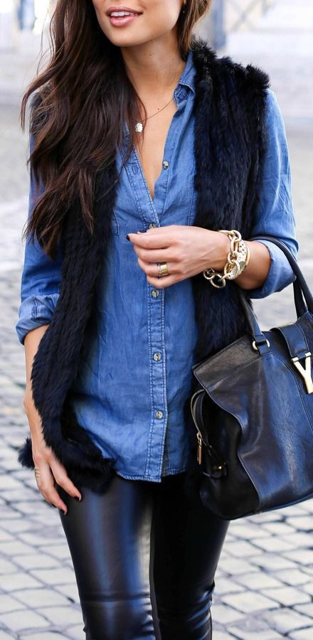Chambray + fur + leather look = Good