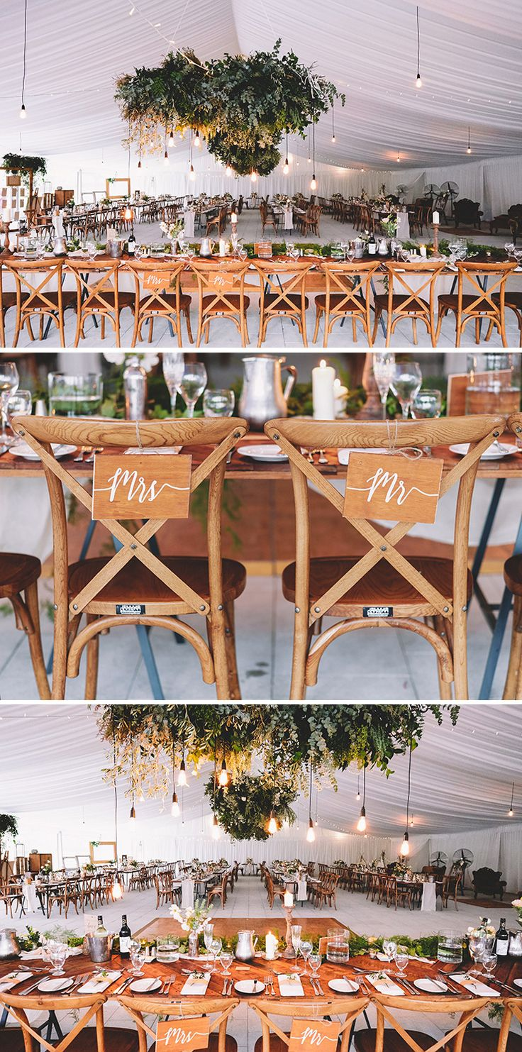 Rustic marquee wedding reception styling with pendant light feature | Popcorn Photography