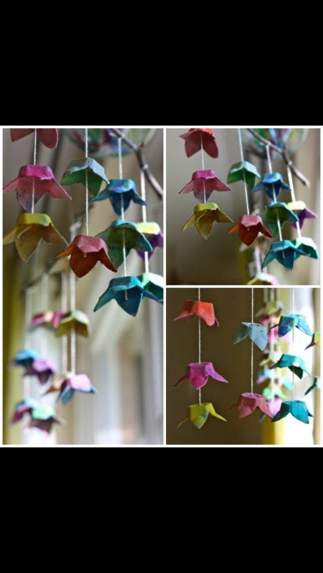 Hanging flower mobiles made out of recycled egg cartons
