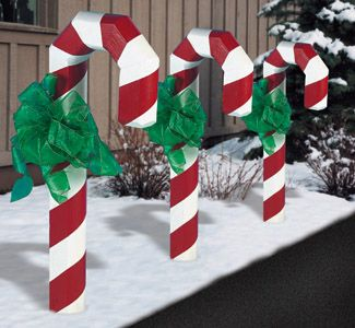"""Landscape Timber Candy Cane PlansMake one candy cane or make enough to line a driveway or walk. Assemble with our 5 inch long outdoor screws. (34"""" tall)"""