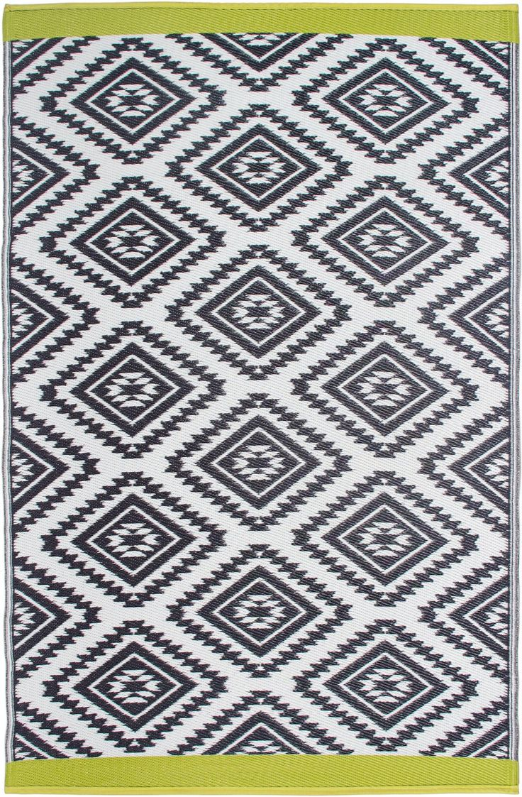 best recycled plastic indoor  outdoor rugs images on  - we're loving this blackwhitegreen color combo on the 'valencia outdoorarea rugsindoor
