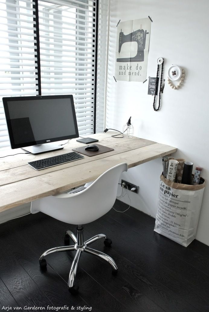 Black, white & wood: My workplace # 2 — Designspiration