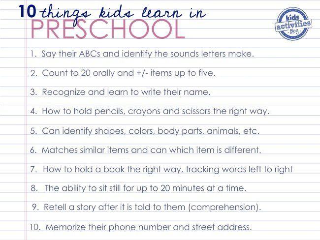 lo que los preescolares a aprender antes de jardín de infancia