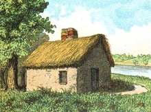 Illustration of William Blackstone's house on Boston Common between 1630-1635, circa 1889