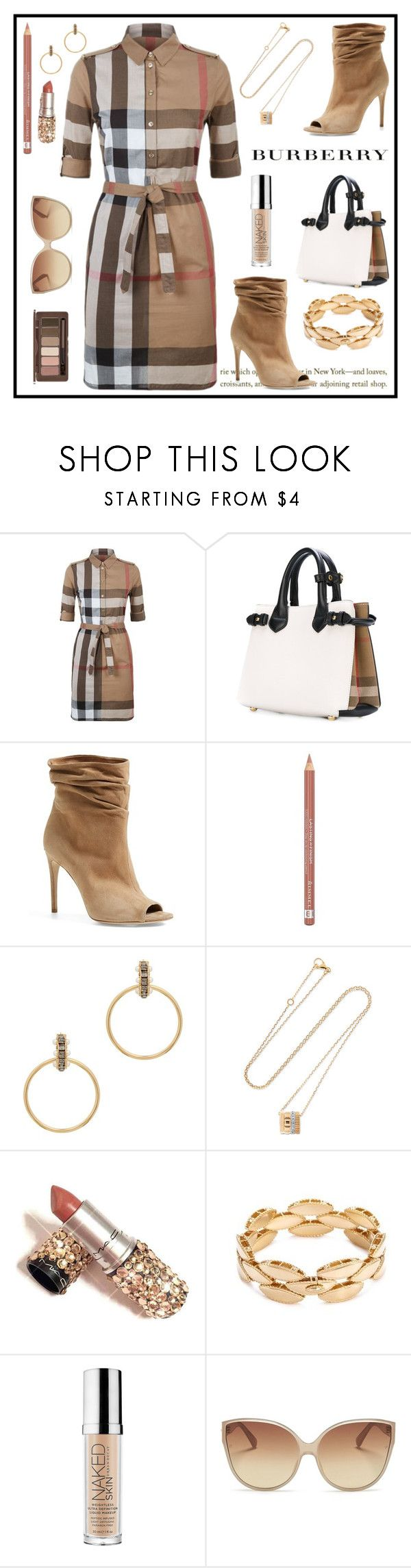 """""""Burberry"""" by sukia ❤ liked on Polyvore featuring Burberry, Rimmel, CA&LOU, Urban Decay, Linda Farrow and Skinfood"""
