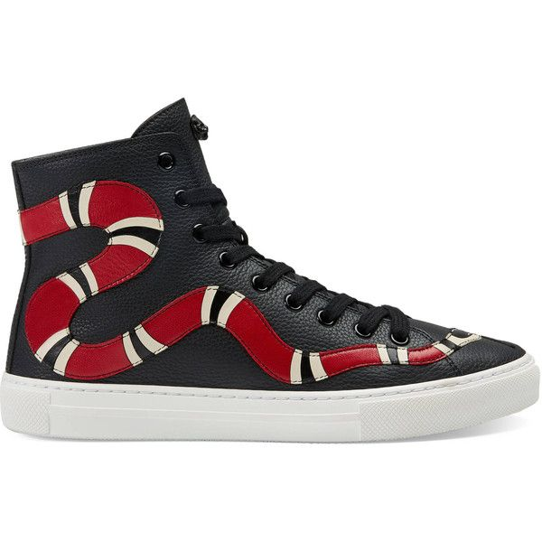 Gucci Leather Kingsnake High-Top Sneaker ($850) ❤ liked on Polyvore featuring shoes, sneakers, women, gucci, leather high tops, leather trainers, gucci high tops and high top leather shoes