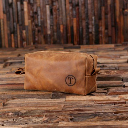 Personalized Leather Toiletry Bag Dopp Kit Classic 100% genuine cow leather dopp kit, hand crafted to perfection. This carefully designed men's toiletry bag will stand the test of time. #groomsmengifts ze the bag with an initial. Perfect #groomsmen, best man, father's day, etc. gift for all men. #AD