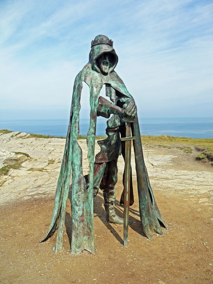This 8-foot bronze sculpture stands on the cliffs of the Cornish coastal village Tintagel, the legendary conception site of King Arthur.