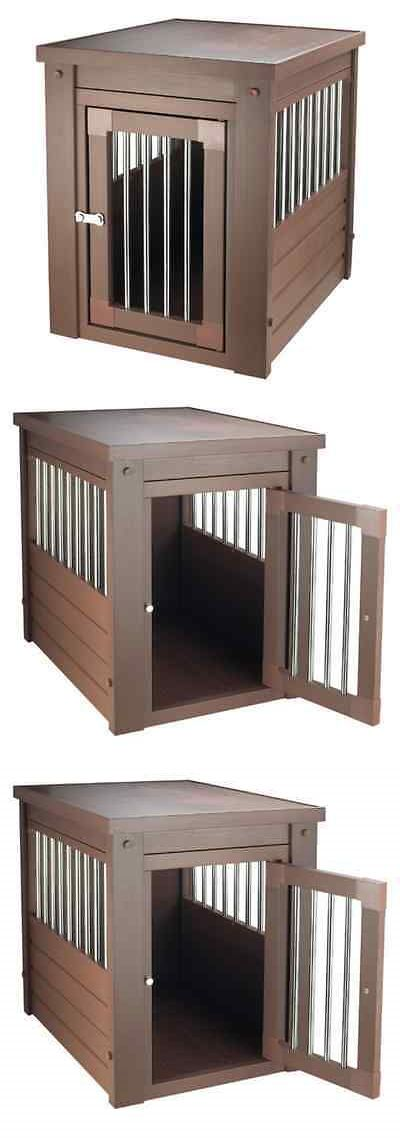 Animals Dog: Small Dog Kennel End Table Cage Crate Pet Brown Eco Wooden Medium Puppy Bed New -> BUY IT NOW ONLY: $132.9 on eBay!