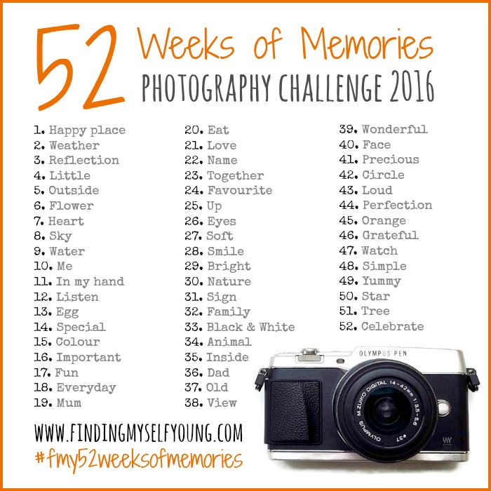 52 Weeks of Memories photography challenge - the 2016 prompts.