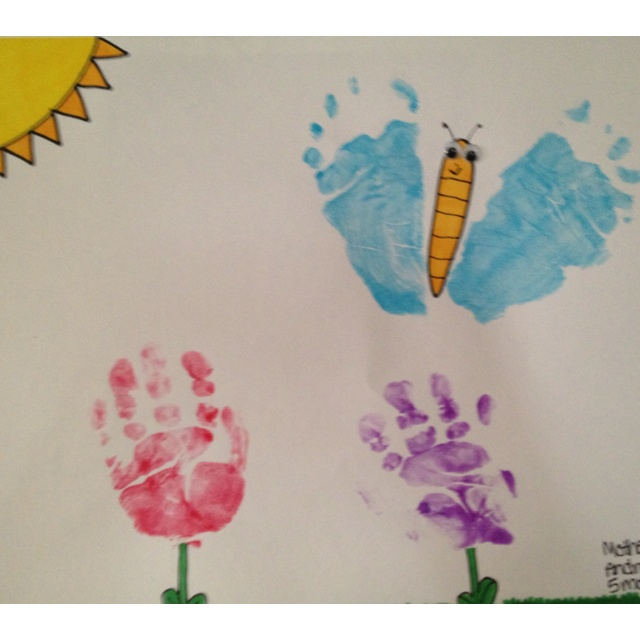 Baby hand and foot prints for Mother's Day!  Complete!  :): Hands Prints, Daycares Crafts, Crafts Ideas, Foot Prints, Baby Hands, Baby Art, Baby Diy, Daycares Art, Spring Summe Crafts