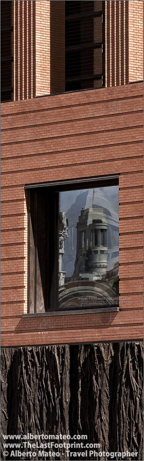 Circulo de Bellas Artes tower reflected on the Prado Museum new building, Paseo del Prado, Madrid, Spain. | Cityscape by Alberto Mateo, Travel Photographer.