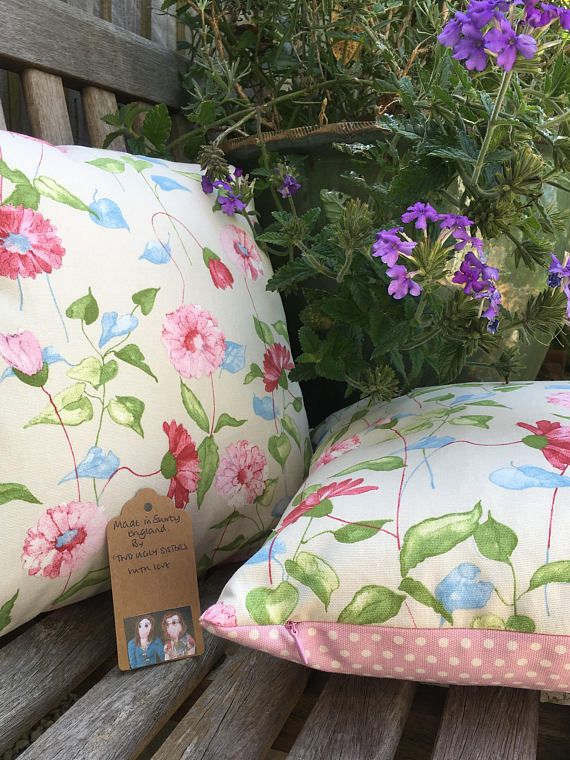 Two Ugly Sisters   Handmade Floral Pillow Floral Cushion