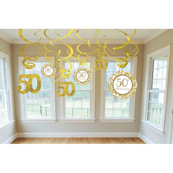 anniversary decor | Swirls With Cutouts 50th Anniversary Decorations 12ct from Wally's ...