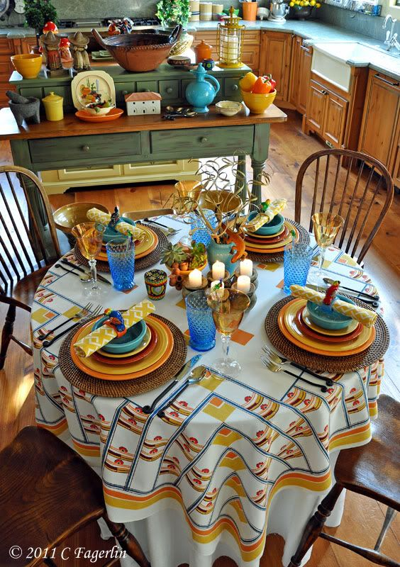 I love a beautifully set table! This woman's tables are amazing!