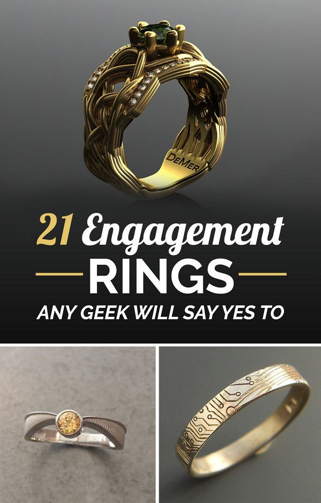 21 Engagement Rings Any Geek Will Say Yes To one day :) Geek Stuff, Nerdy Rings Wedding