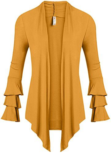 New Simlu Womens Open Front Cardigan Sweater Ruffle Long Sleeve Cardigan Reg  and Plus Size - Made in USA online.   24.99  weloveoffer offers on top store 694467bac