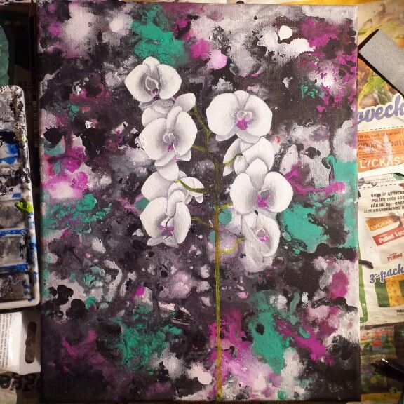 Acrylic painting of orchid flowers by Madeleine Hoffman