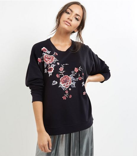 Black Floral Embroidered Long Sleeve Sweater  | New Look