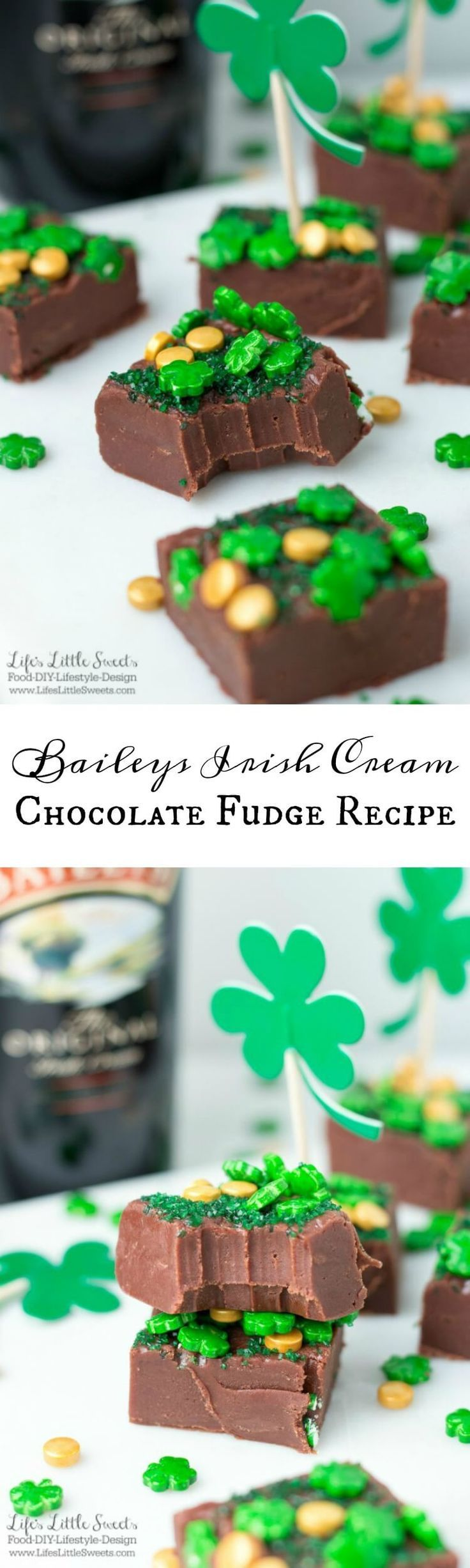 (Msg 21+) This Baileys Irish Cream Chocolate Fudge recipe has rich chocolate flavor, is butter-y and infused with Baileys Original Irish Cream. Make this when you are craving a decadent chocolate snack or for St. Patrick's Day!