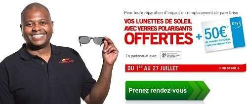 Carglass vous offre une paire de lunettes de soleil polarisantes pour toutes les réparations.