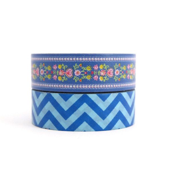 Blue Chevron & Floral Washi Tape Set by Hobbyhoppers on Etsy