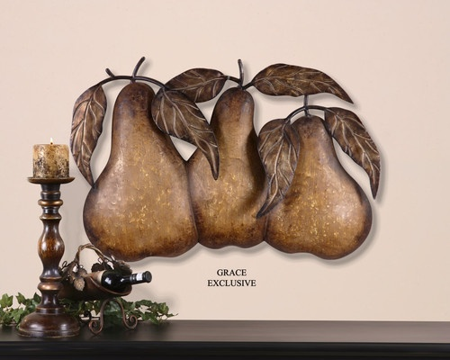 Country Kitchen Dining Room Wall Dcor Metal Iron Art Three Pears Fruit