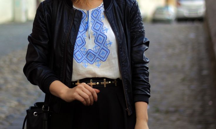 Traditional Romanian Blouse with leather jacket