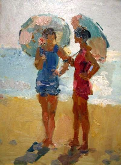 Isaac Israels: Ladies with parasols on the beach.