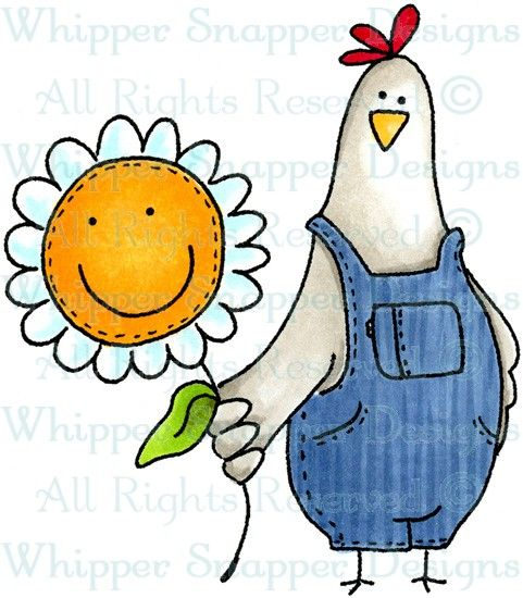 Chicken & Daisy - Chickens - Animals - Rubber Stamps - Shop
