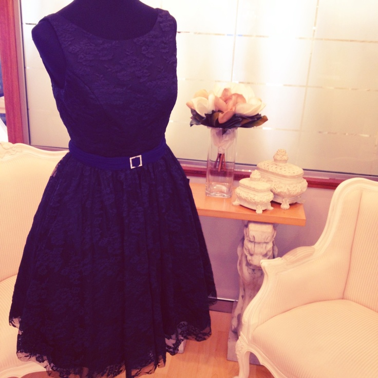 Audrey Gown with Navy Pleated Band