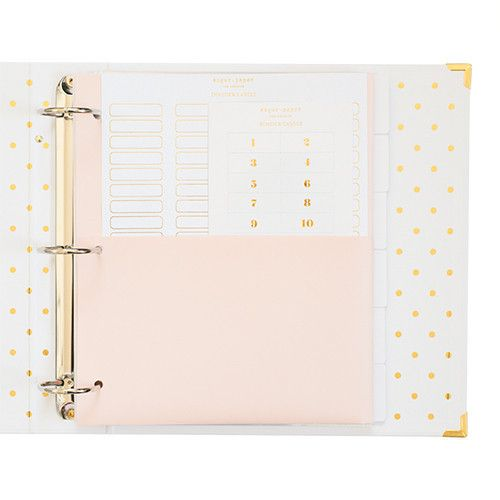 The Perfect Binder was designed as a multi-purpose 3-ring binder with gold hardware exterior details and gold foil interior accents. Along with a matte laminate finish, the inside of each 3-ring binder is lined with our signature gold polka dots, and includes 6 white blank divider tags, 1 pale pink divider with pockets, 10 clear sleeves, 18 gold foil + 8 blank divider labels, and 12 gold foil + 64 blank, Avery compatible divider labels.