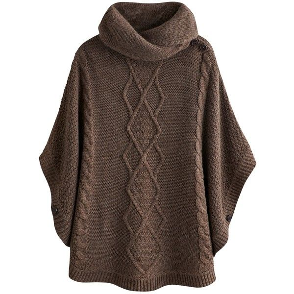 Joules Tess Cable Cape, Brown Marl found on Polyvore