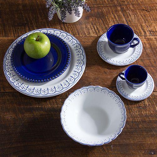 Aparelho de Jantar 42 Peças Cerâmica Provençal Branco e Azul - La Cuisine