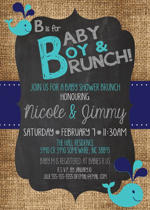 Any Color B is for BABY Boy Brunch SHOWER Sprinkle por MolsDesigns