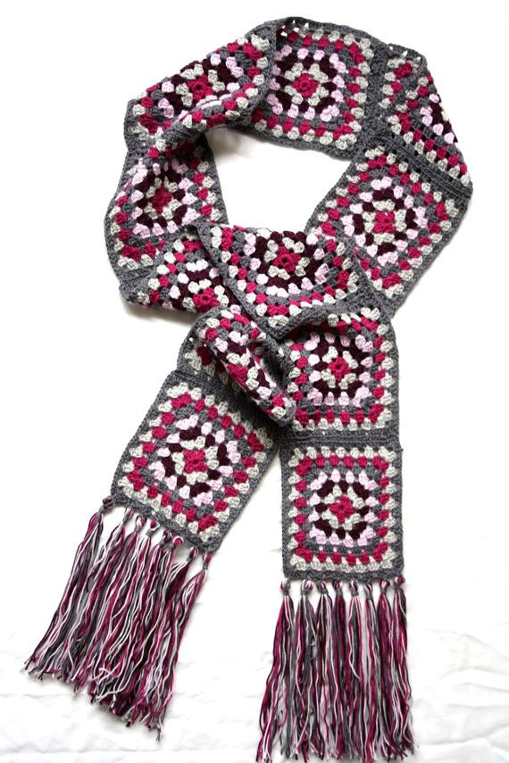 Granny Square Scarf Crochet Scarf Women Men Fashion Accessories Scarves Afghan Scarf Boho Chic Scarf Handmade Gift Ideas Made to Order