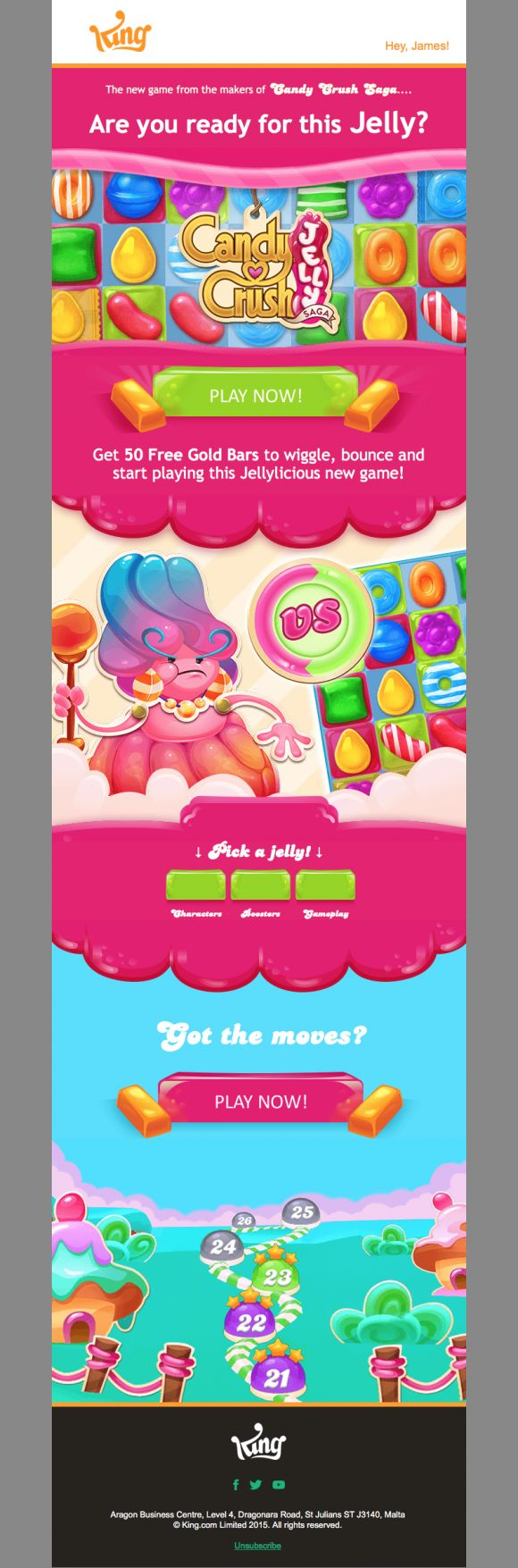 Candy Crush Jelly Saga - Beautiful Email Newsletters