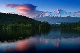 Mt Shasta , picture taken from a boat in lake siskyou