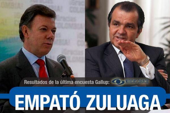 Vea los resultados de la encuesta Gallup de mayo sobre elecciones presidenciales #Elecciones2014   Óscar Iván Zuluaga y Juan Manuel Santos obtienen para la primera vuelta una intención de voto de 29,3% y 29%, respectivamente. Hay empate técnico. http://www.noticiascaracol.com/nacion/articulo-323629-vea-los-resultados-de-la-encuesta-gallup-de-mayo-sobre-elecciones-presidenciales
