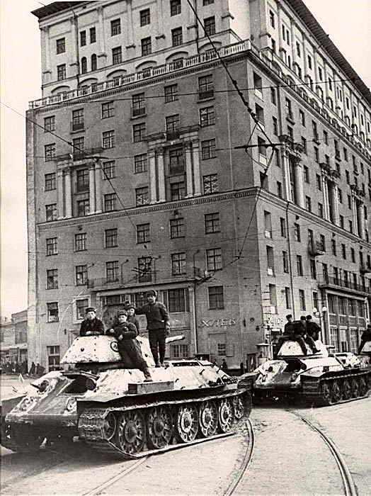 Defence of Moscow. Soviet tanks on the streets of Moscow. 1941