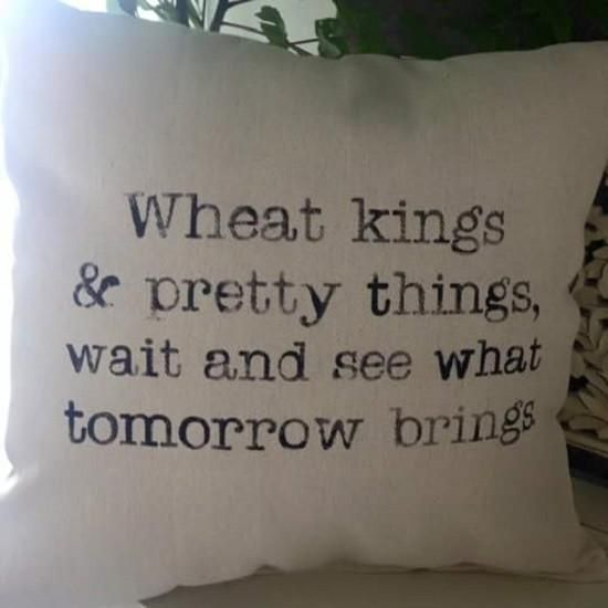 Wheat Kings and Pretty Things pillow -- great Christmas gift for the Tragically Hip fan on your Christmas list
