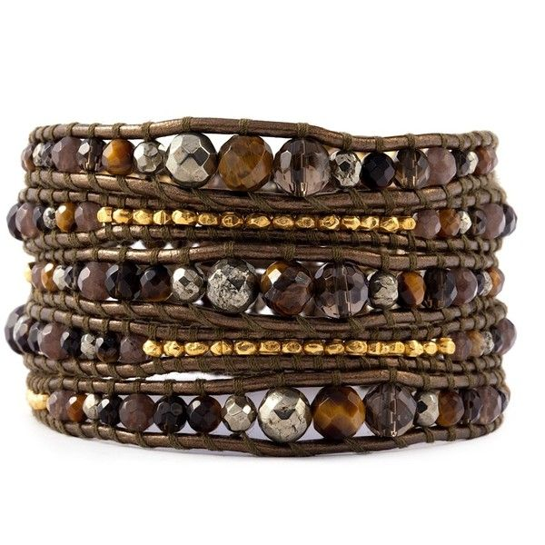 The Tiger's Eye Graduated Mix Wrap Bracelet on Kansa Leather by... ($245) ❤ liked on Polyvore