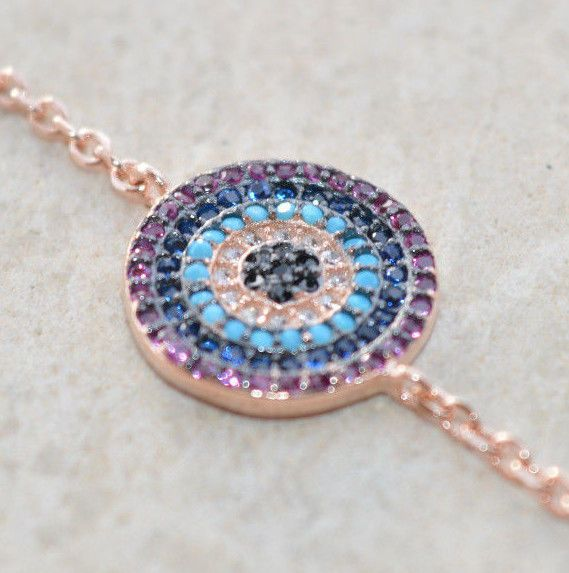 Sterling Silver 925 Bracelet Rose Gold Plated Ruby Blue Turquoise Pink Zircon
