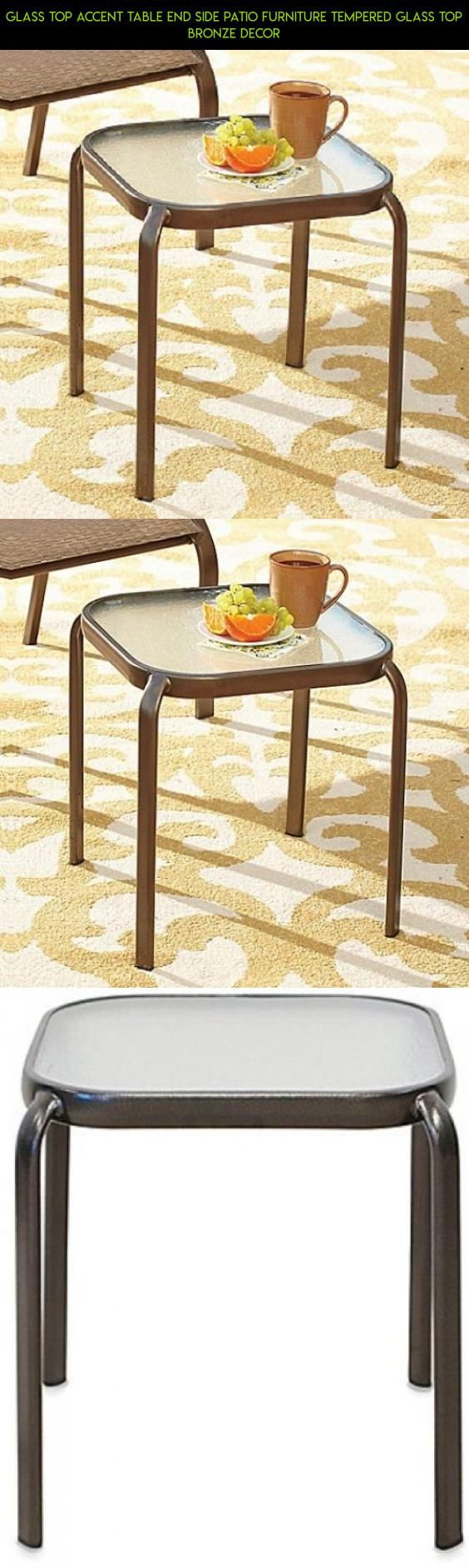 48 outdoor glass table top replacement - Glass Top Accent Table End Side Patio Furniture Tempered Glass Top Bronze Decor Kit